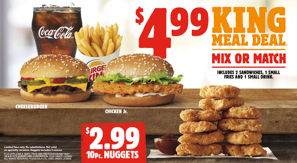 Burger King promotion of beef burgers, chicken, French fries, chicken legs and soda