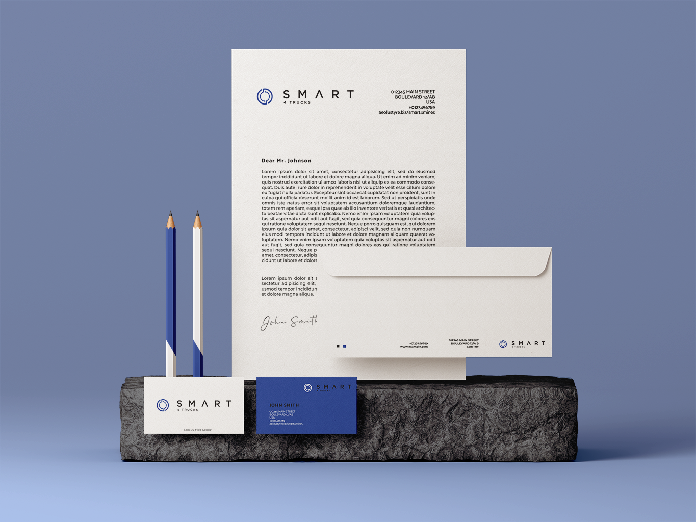 Corporate identity for Aeolus Smart Fleet Solutions in blue colors