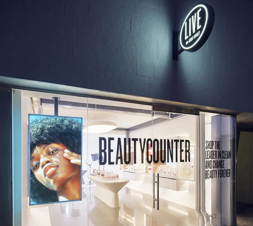 Entrance to the BeautyCounter salon with the film set