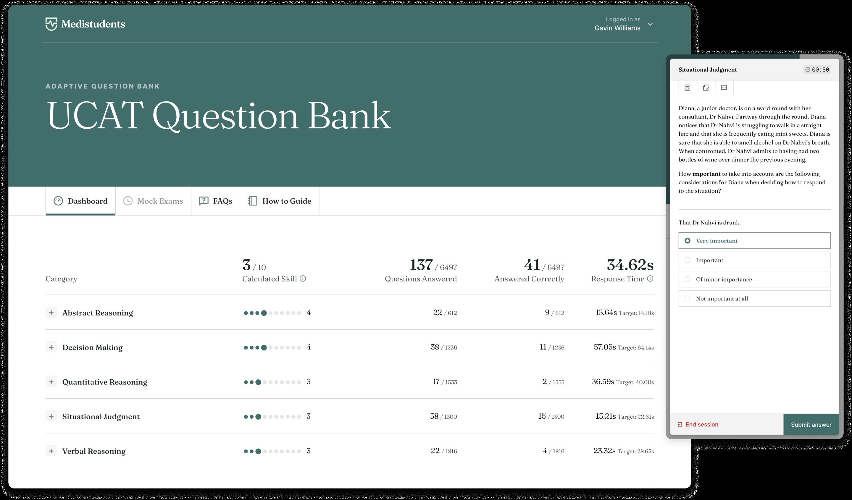 Desktop and mobile screenshot of the adaptive UCAT question bank