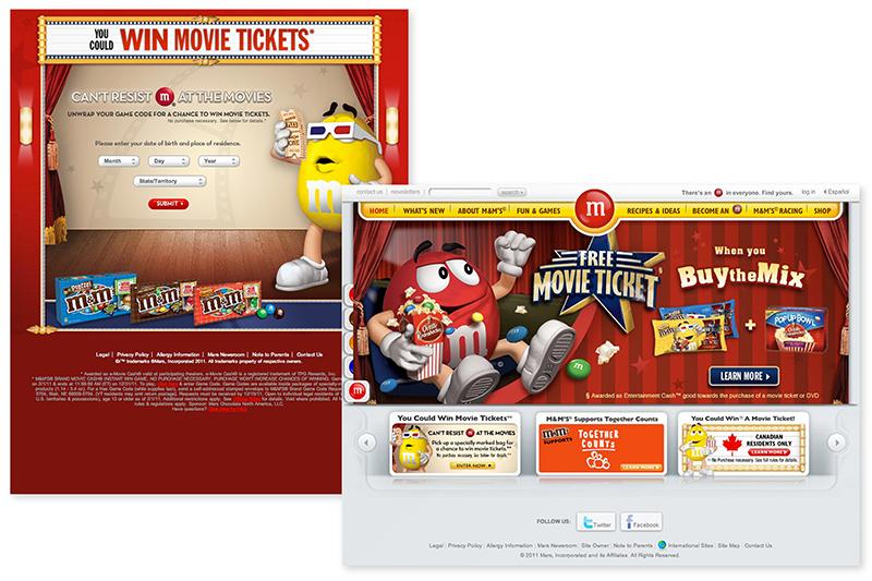 M&M movie campaign microsite