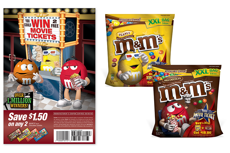 M&M ad and packaging samples