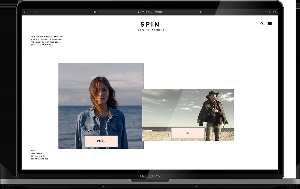 Spin Modelmanagement Website Mockup