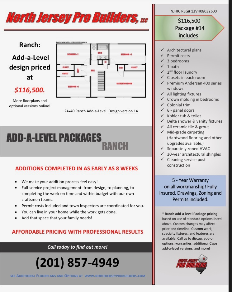 NJPB Ranch Add-A-Level promotion packages
