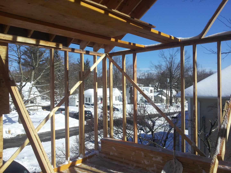 NJPB framing addition with snow