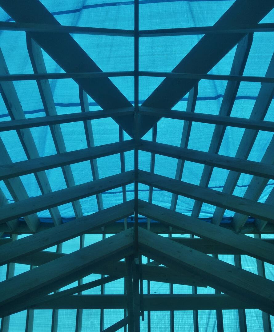 NJPB framing roof with tarp