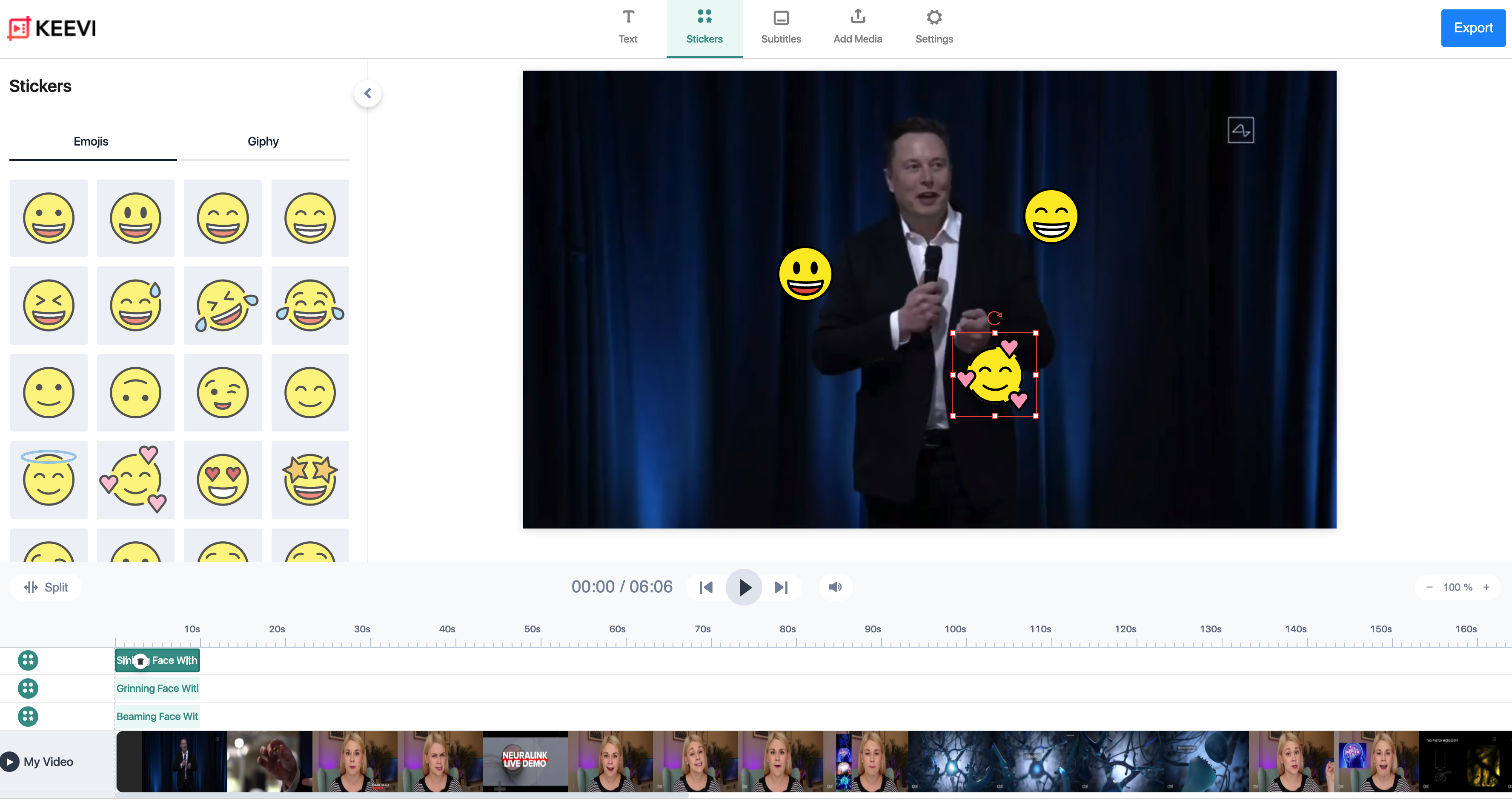 add emojis to videos