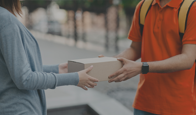 A person receiving a parcel
