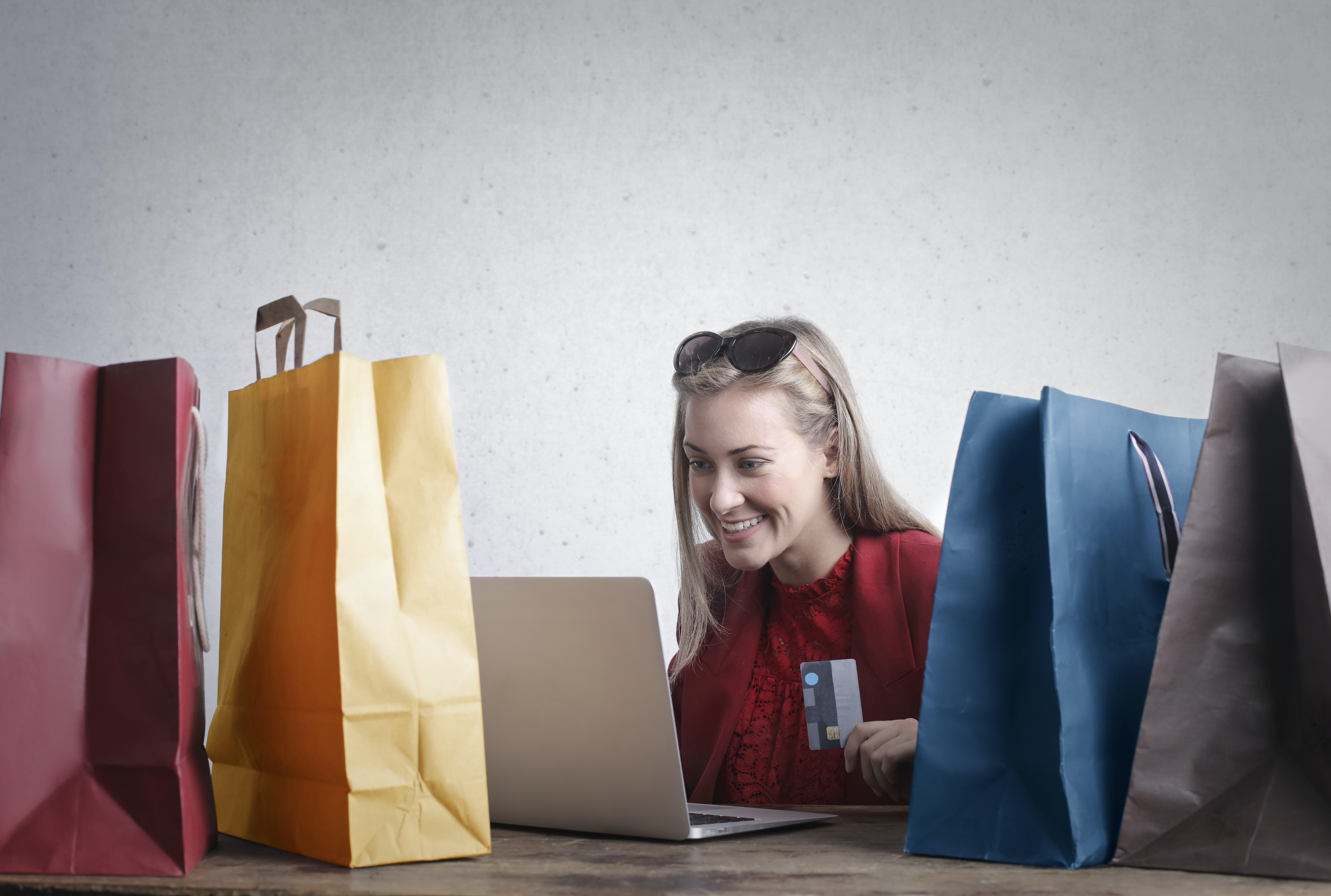 Women shopping online from home