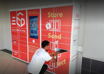 A delivery man using ECD lockers