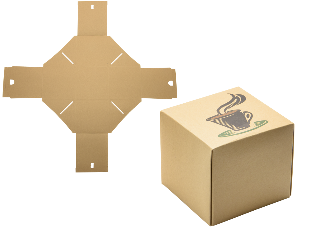 branded designed box folded and flat