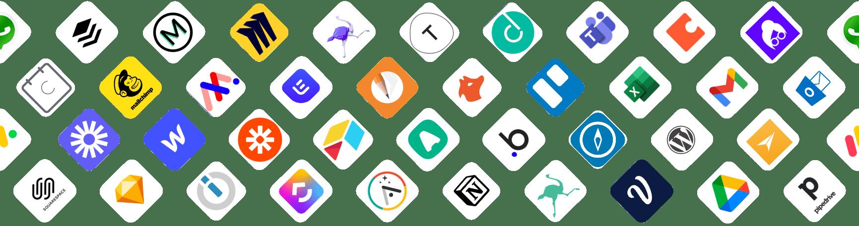 Bannière présentant des logos d'outils nocode :  prospectin, waalaxy-integromat notion-airtable-webflow-teams-prospectin-clickup-pipedrive-wordpress