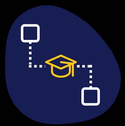 Schéma représentant la formation avec un chapeau de diplomé