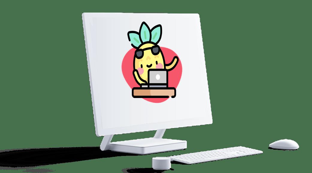 Ecran d'ordinateur design présentant un site web et l'égerie Digidop