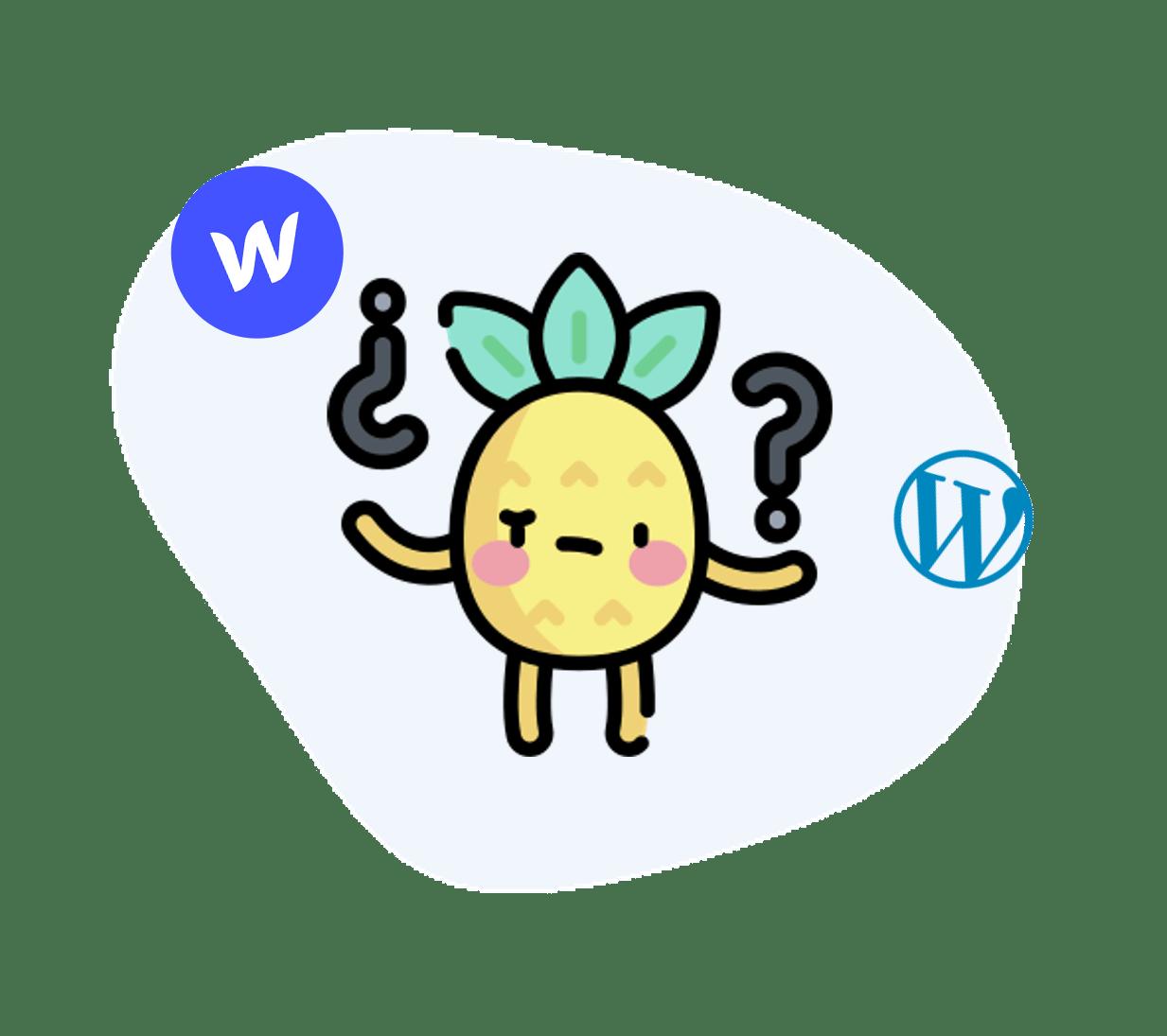 Digidop icône s'interrogeant sur l'utilisation de Webflow ou Wordpress