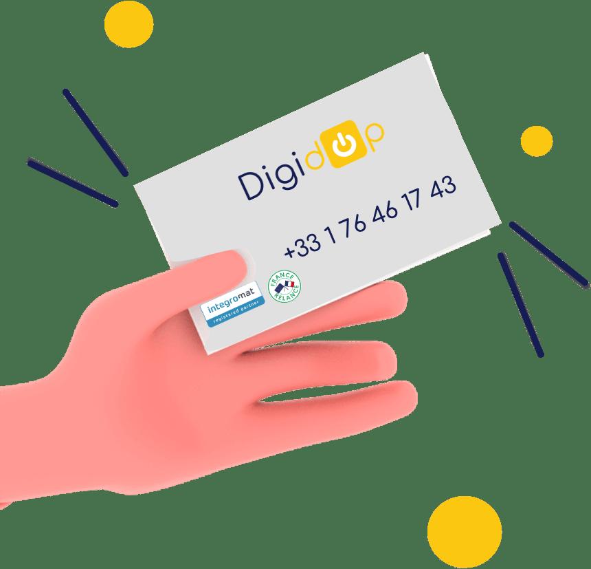 Carte de visite digital Digidop avec logo Integromat et France numérique