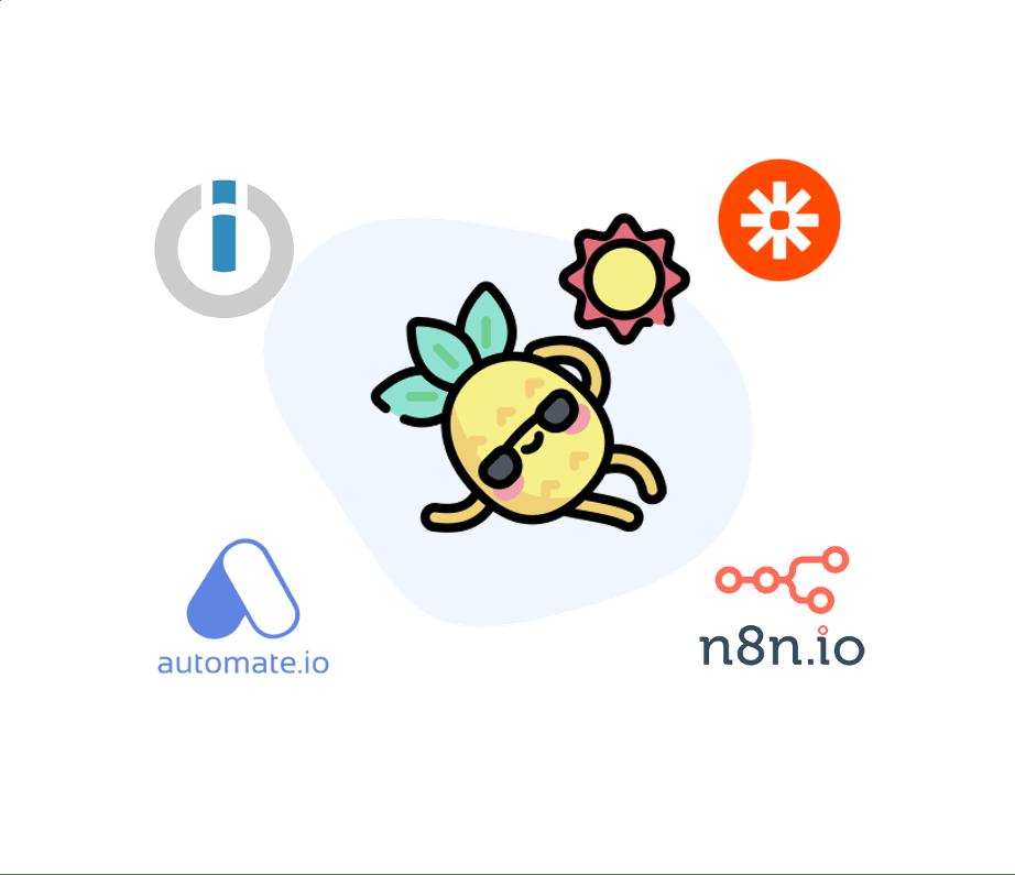 Logo Zapier, integromat automate.io et icone digidop productivité