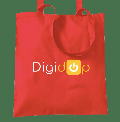 Top bag rouge avec logo Digidop