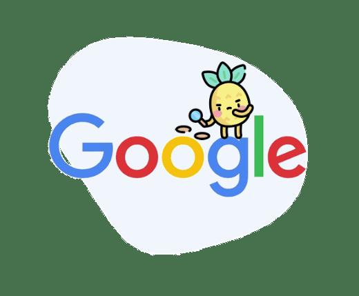 Logo google sur fond bleu clair avec une icone de recherche