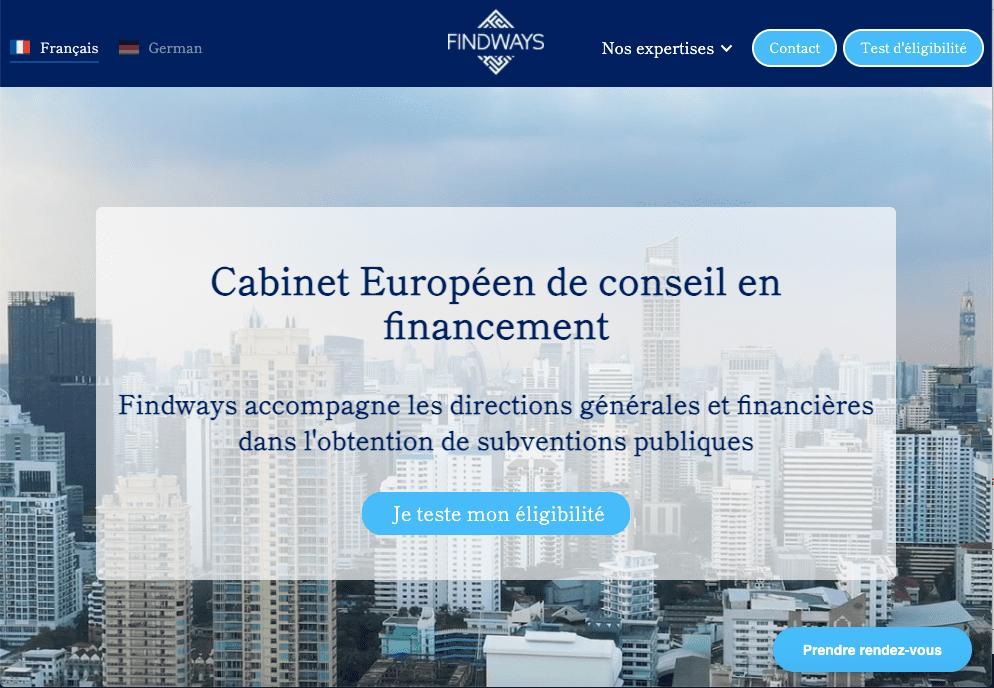 Homepage avec call to action du site webflow de findways