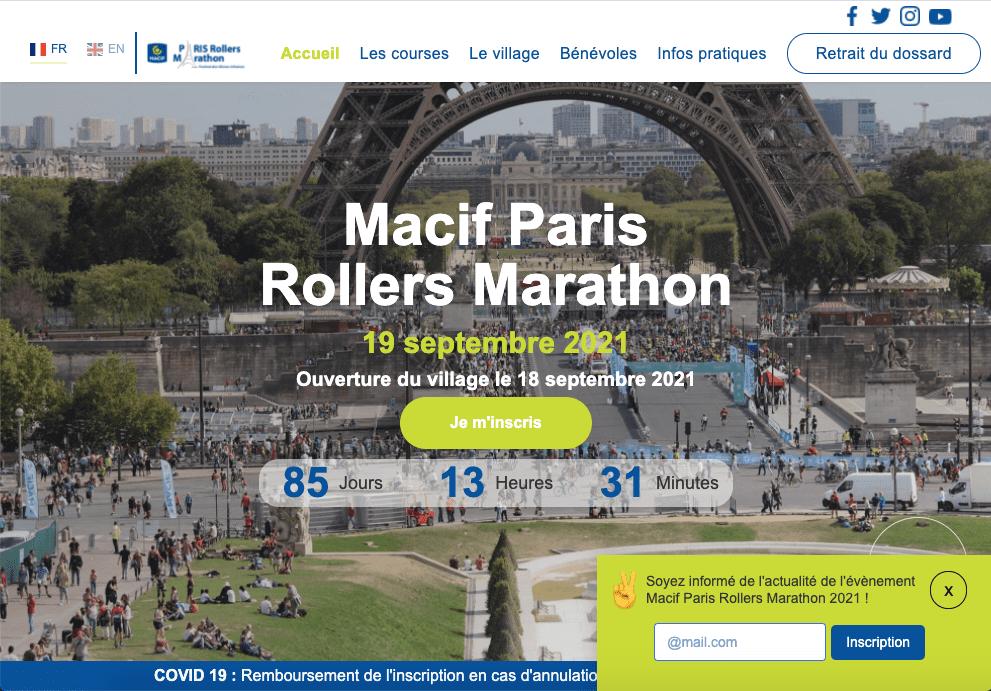Homepage nouveau site web Macif Paris Rollers Marathon