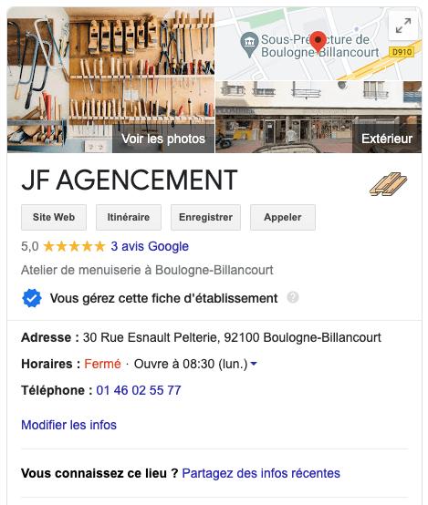 Fiche Google My Business je JF Agencement 5 étoiles