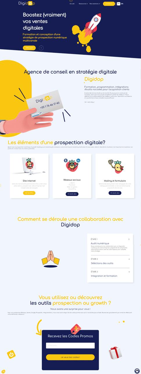Landing page ventes digitales Digidop
