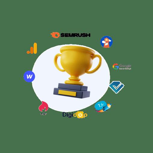 10 meilleurs outils seo avec une coupe de victoire au centre