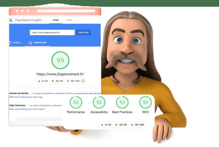 Page speed google insights performance de 99 pour site internet