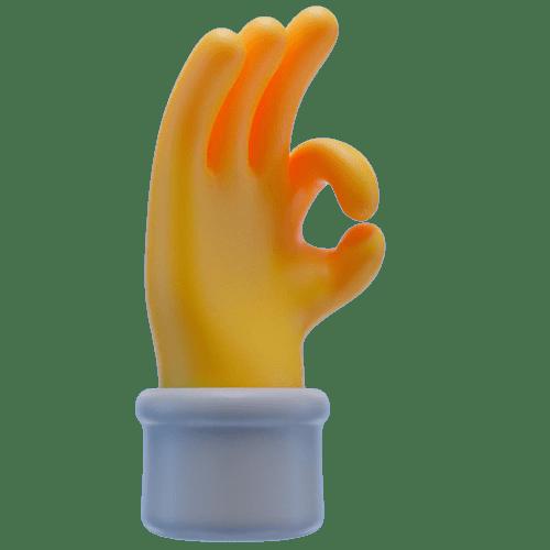 Icone main avec doigts symbole parfait