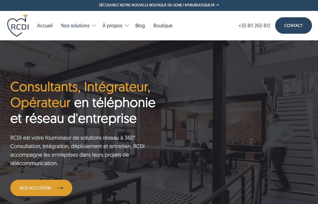 Capture d'écran de la nouvelle page d'accueil du site internet rcdi.fr