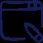 Icone de blogging, un ecran web avec un stylo de redaction