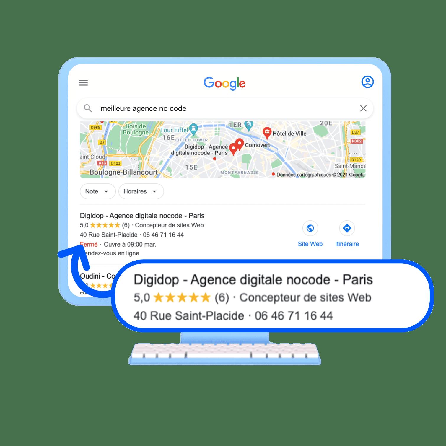 Meilleure agence nocode visibilité en ligne moteur de recherche Google Digidop