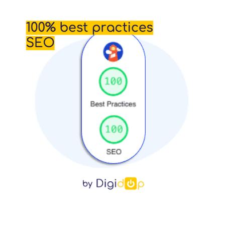 Icone lighthouse avec score 100/100 best practices et 100/100 seo