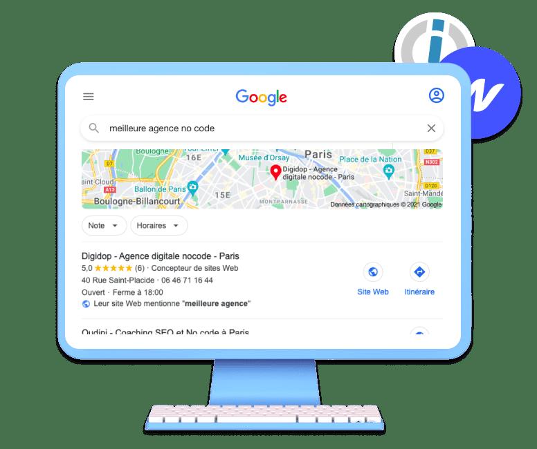 Recherche Google de Digidop meilleure agence nocode à paris avec le logo Webflow et integromat en fond d'ecran