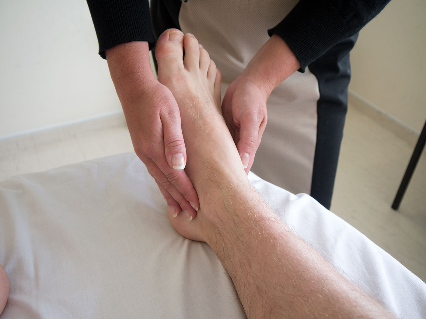 Palpate the ankle