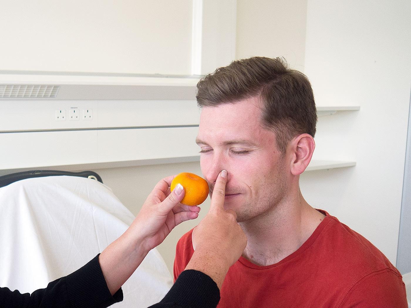 Test the olfactory nerve