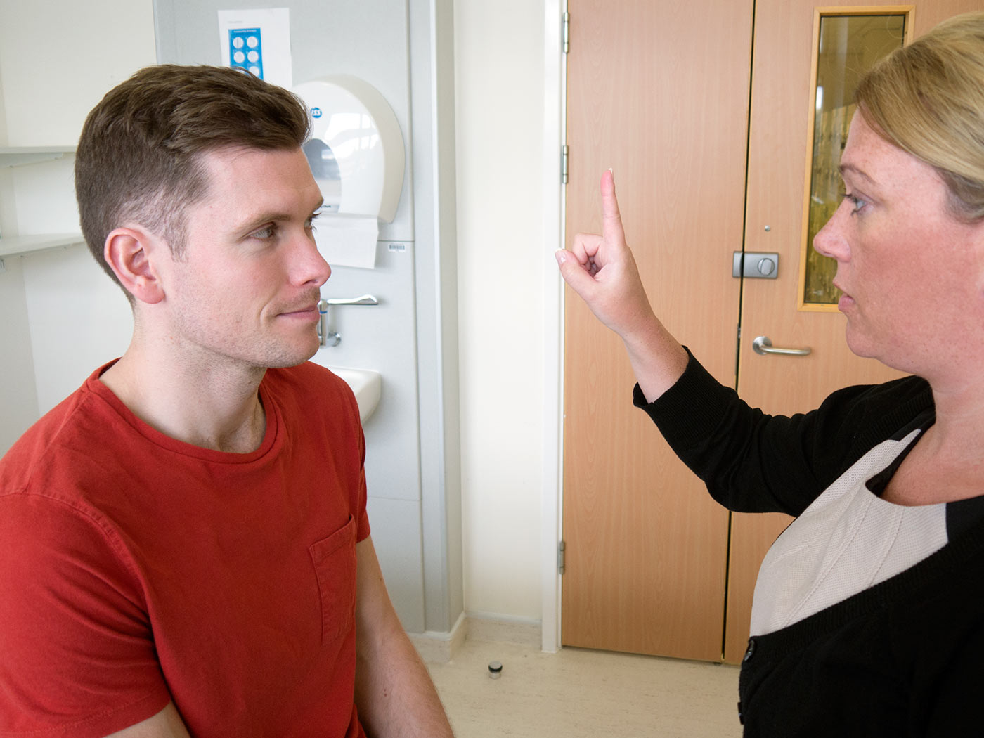 Get the patient to follow your finger