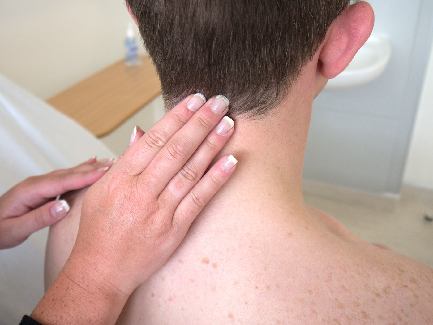 Palpate the occipital lymph nodes