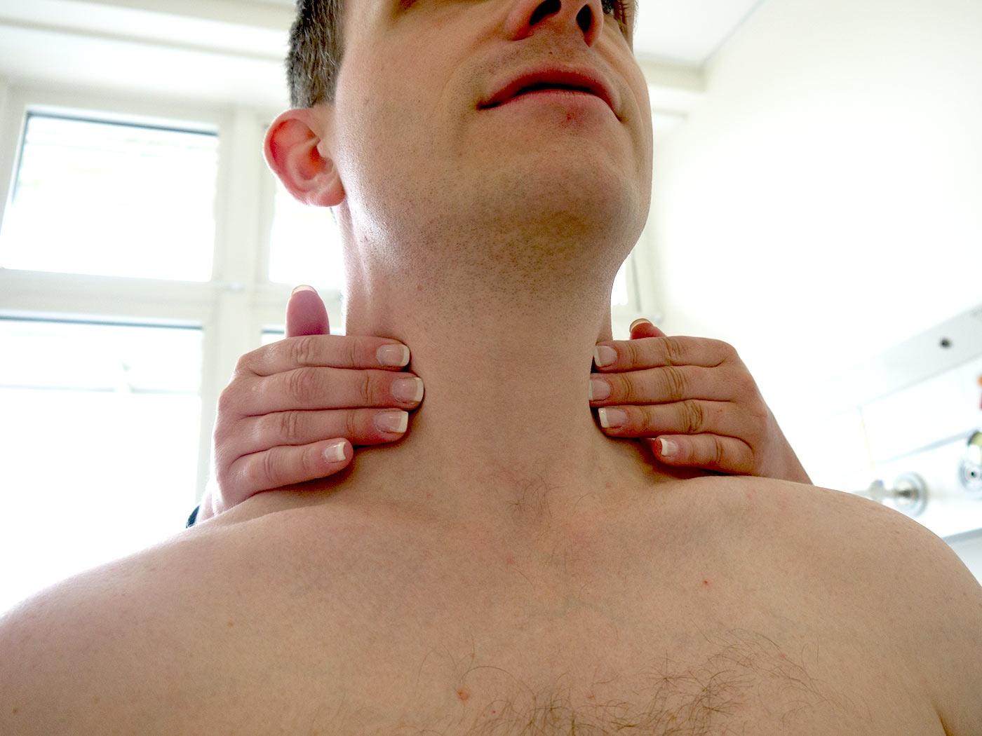 Palpate the cervical lymph nodes
