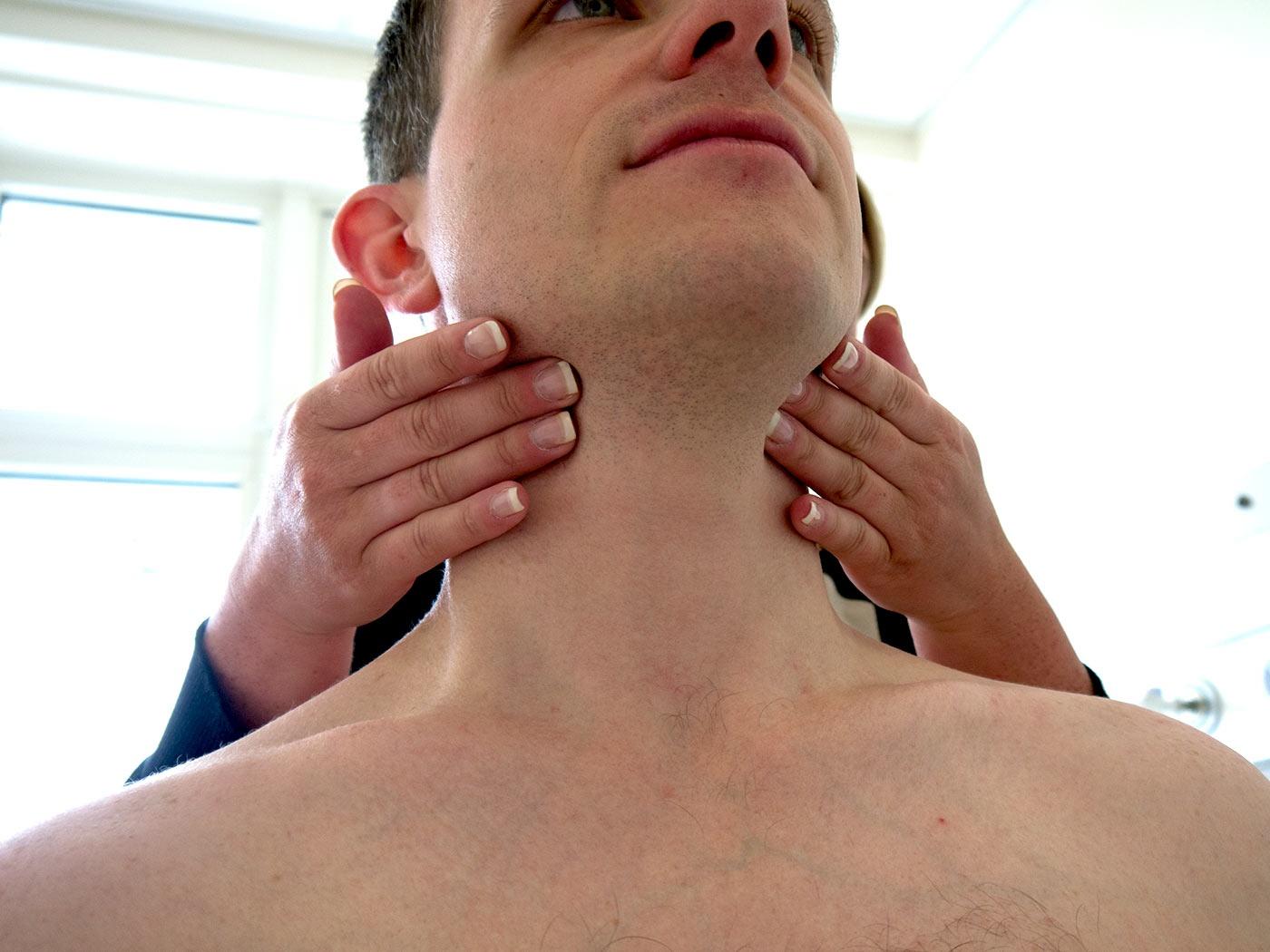 Palpate the submandibular lymph nodes