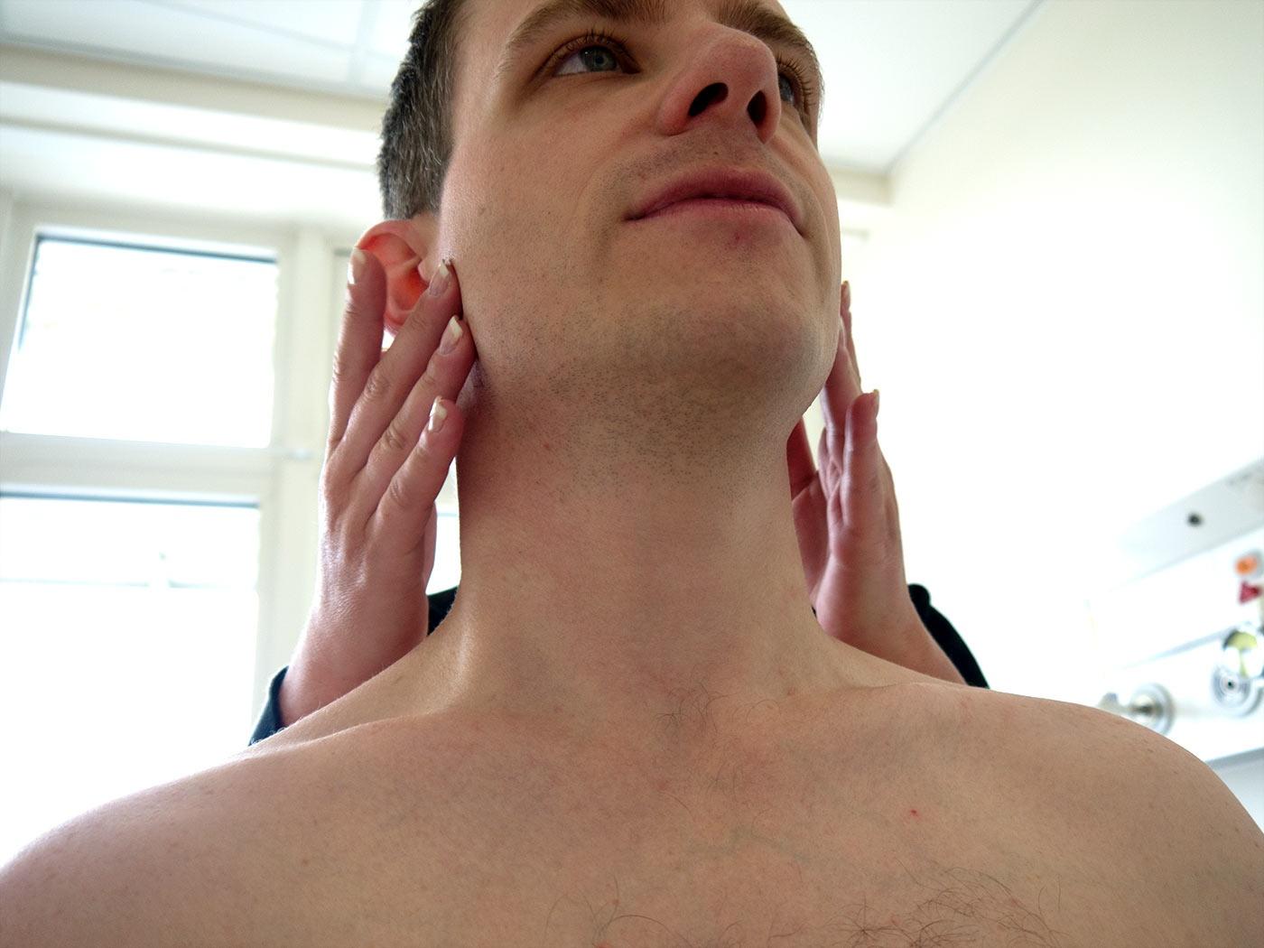 Palpate the pre-auricular lymph nodes
