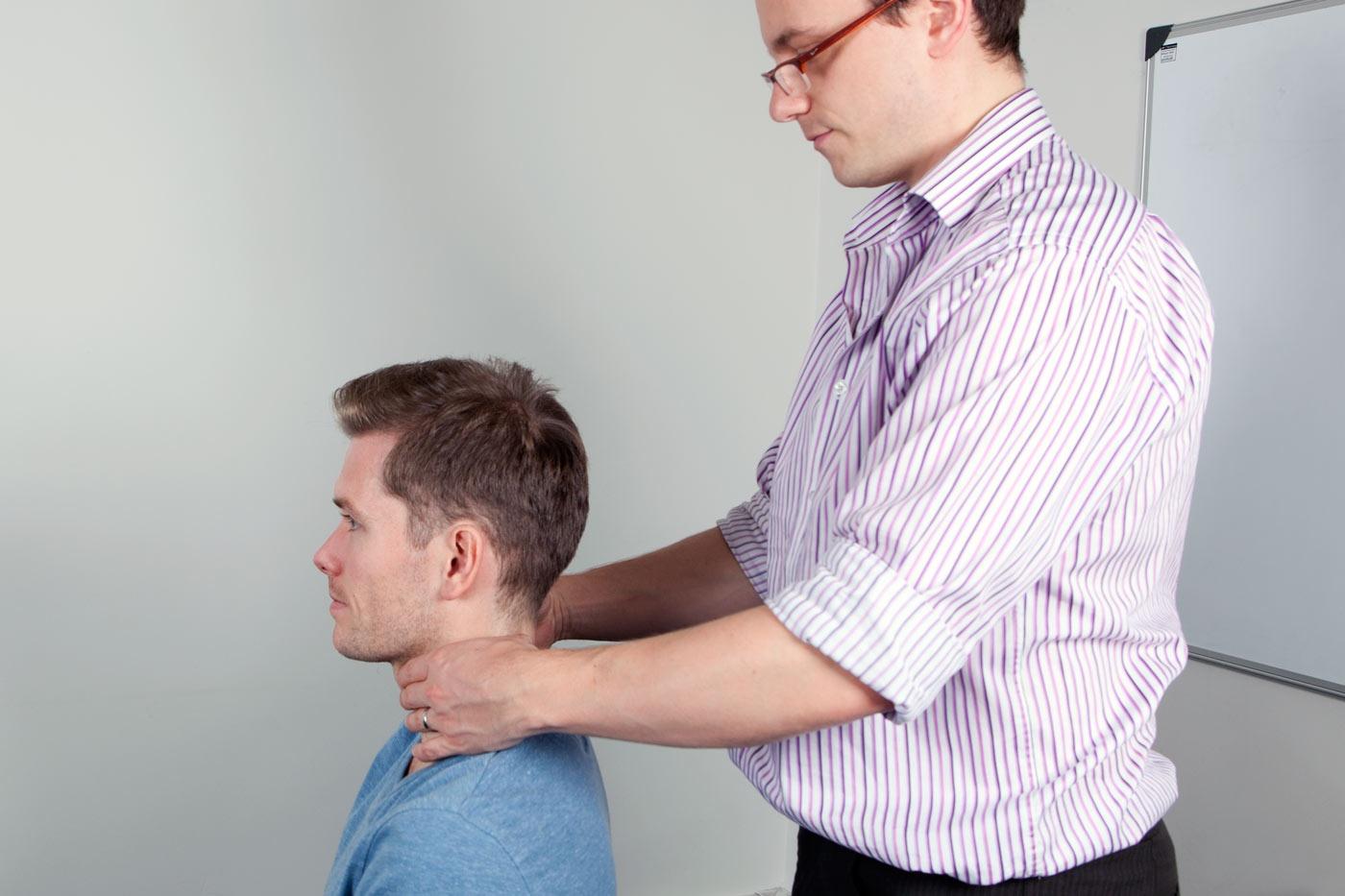 Palpate the thyroid gland