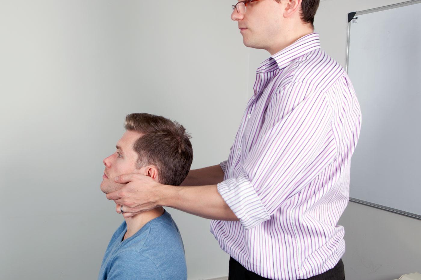 Examine the cervical lymph nodes