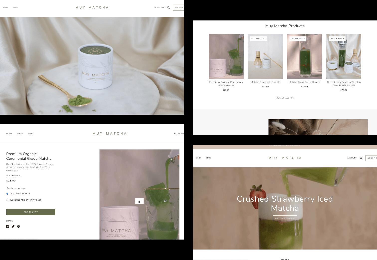 screenshot showing the muy matcha website