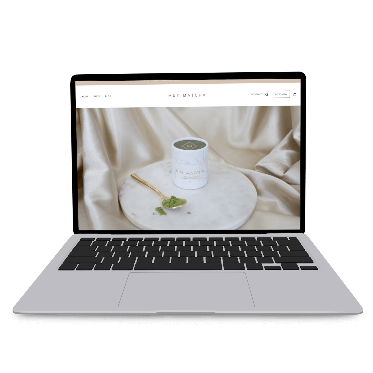 screenshot showing muy matcha tea website