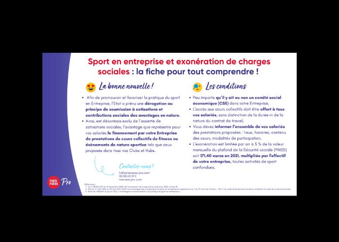Sport en entreprise et exonération de charges sociales : la fiche pour tout comprendre !