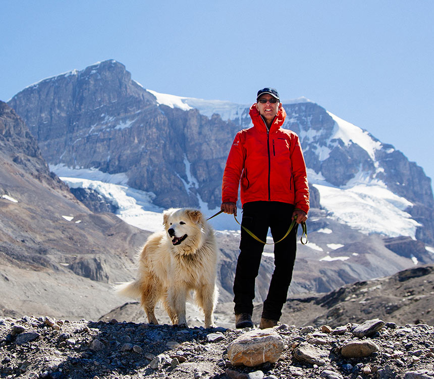 Icewalks Founder Peter Lemieux and his dog George