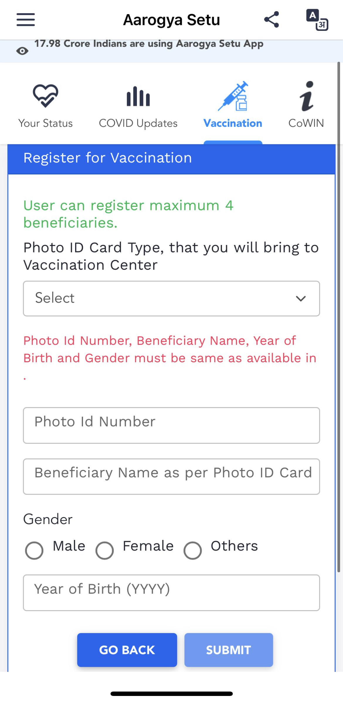 Arogya Setu Government India App Vaccination Registration