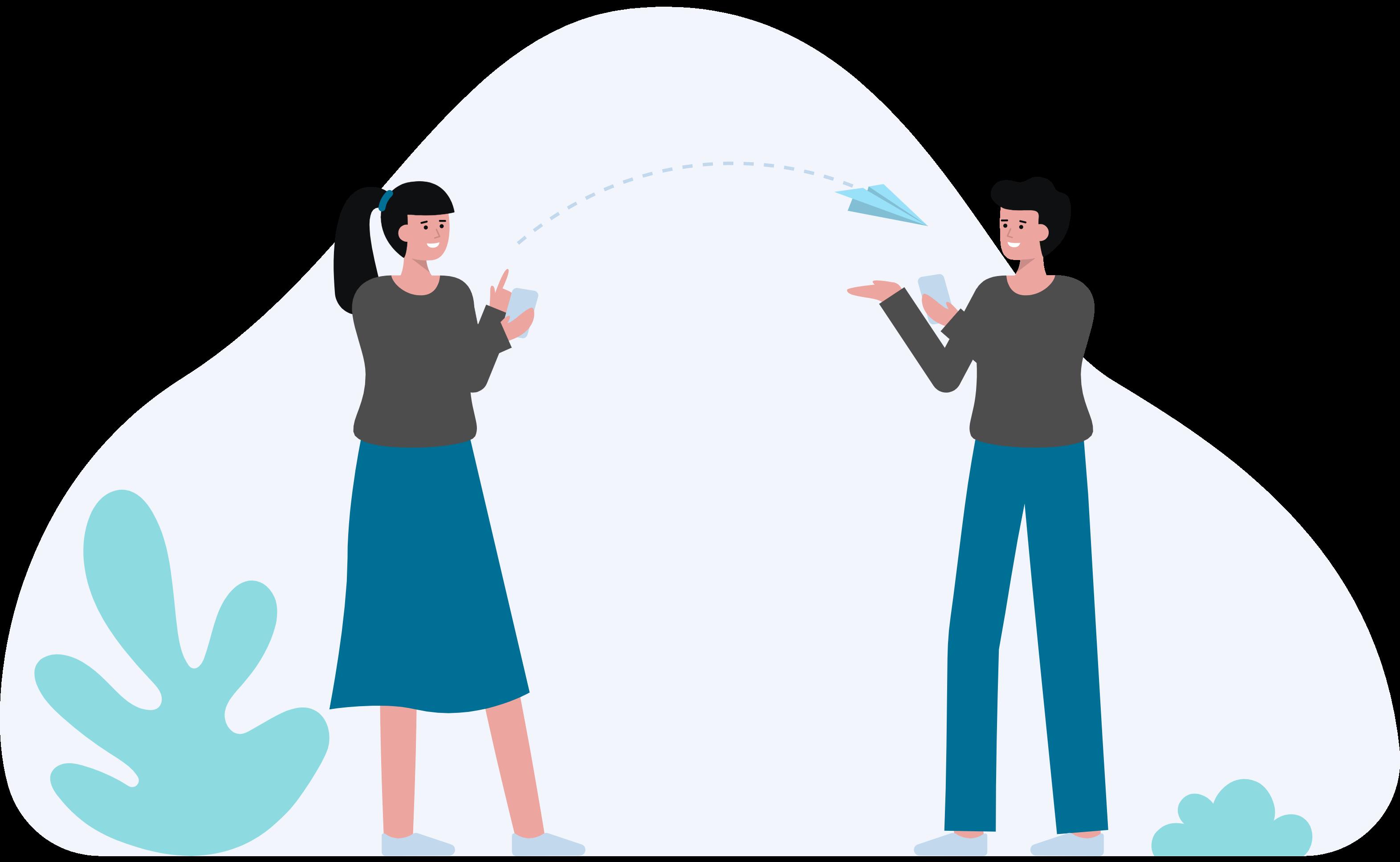 Two people sending digital messages